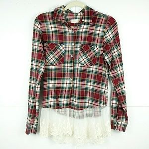 Altar'd State Red Plaid Flannel & Lace Shirt XS